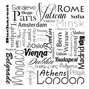 Siyah Beyaz Şehir Adları - Kendinden Yapışkanlı Duvar Kağıdı