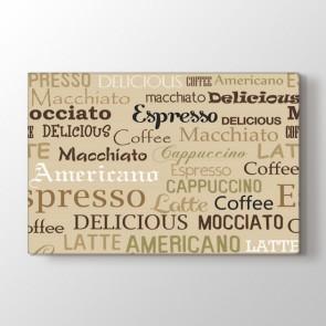 Kahve İsmi Deseni Tablosu   Kafe Için Tablo