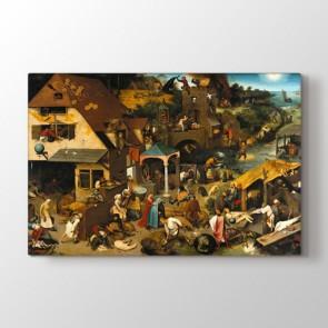 Netherlandish Proverbs - Yağlı Boya Resimli Kanvas Tablo Modeli
