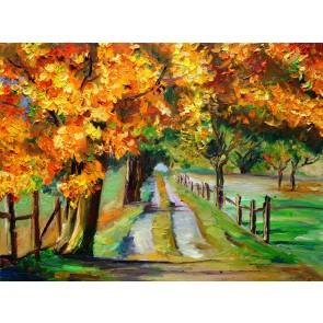 Yağlı Boya Sonbahar - Kendinden Yapışkanlı Duvar Kağıdı