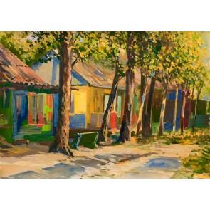 Renkli Bahçe Tablosu - Resimli Dekoratif Duvar Kağıdı