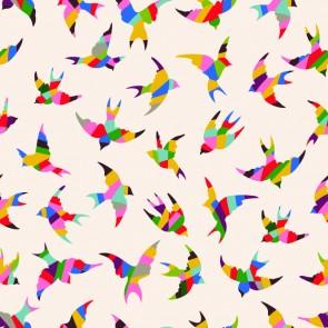 Renkli Kuşlar Desenli Duvar Kağıdı Önizleme