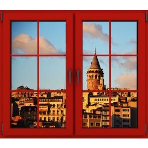 Penceremden Galata Kulesi Duvar Kağıdı Önizleme