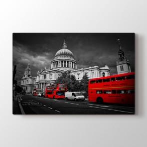Londra'nın Kırmızı Otobüsleri - Şehir Kanvas Tablo Modeli