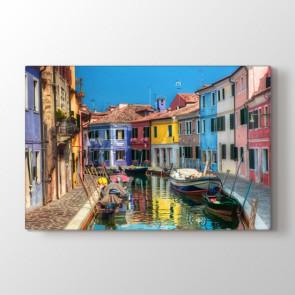 Renkli Venedik Evleri Tablosu   Doğa Tabloları