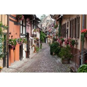 Çiçekli Sokak 3 Boyutlu Manzara Duvar Kağıdı Modeli