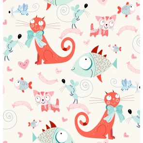 Mini Mini Kediler Çocuk Odası Desenli Duvar Kağıdı Önizleme