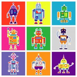 Sevimli Robotlar Çocuk Odası Duvar Kağıdı Önizleme