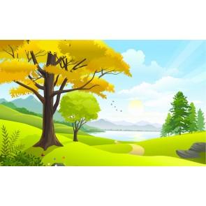 Sonbahar Çizgileri - Manzaralı Yapışkan Duvar Kağıdı
