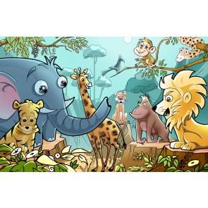 Çocuk Odası Hayvanları 3 Boyutlu Resimli Duvar Kağıdı