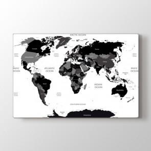 Siyah Beyaz Dünya - Siyah Beyaz Kanvas Tablosu