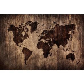 Ahşap Döşeme Dünya Haritası - Resimli Dekoratif Duvar Kağıdı