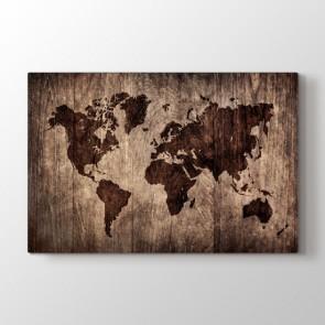 Ahşap Döşeme Dünya Haritası - Ofis Duvar Tablosu Modeli