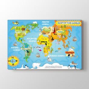 Çocuklar için Dünya Haritası Tablosu | Dünya Haritası Tablosu