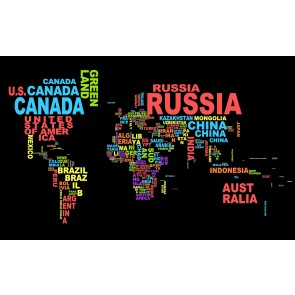 Renkli Tipografi Dünya Haritası