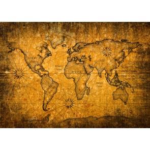 Eski Yüzeyde Dünya Haritası 3 Boyutlu Duvar Kağıdı