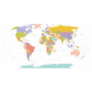 Şehir Detaylı Dünya Haritası 3 Boyutlu Duvar Kağıdı