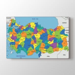 Koyu Tonlarda Türkiye Haritası Tablosu | Dünya Haritası Tabloları