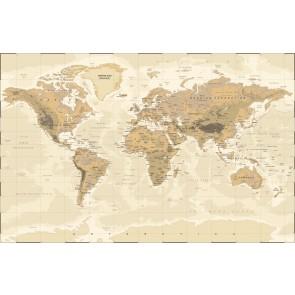 Vintage Fiziki Dünya Haritası 3 Boyutlu Duvar Kağıdı