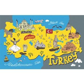Türkiye Turistik Simgeler Haritası 3 Boyutlu Duvar Kağıdı