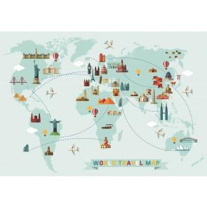 Balonla Dünya Turu Haritası 3 Boyutlu Duvar Kağıdı