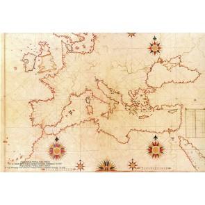 Piri Reis Haritası 16. Yüzyıl Avrupa 3 Boyutlu Resimli Duvar Kağıdı