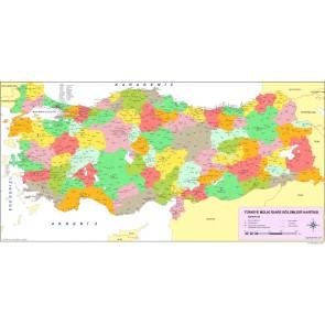 Türkiye İller ve İlçeler 3 Boyutlu Resimli Duvar Kağıdı