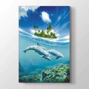 Özgür Yunuslar - Vahşi Yaşam Resimli Kanvas Tablo Modeli