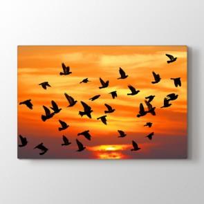 Kuşlar Sonbaharda Gelir - Vahşi Yaşam Dekoratif Duvar Tablosu