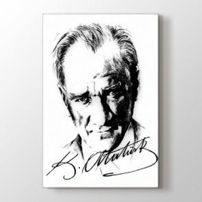 Atatürk İmzalı Portre - Siyah Beyaz Duvar Tablosu Modeli