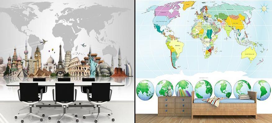 Dünya Haritası 3 Boyutlu Duvar Kağıtları