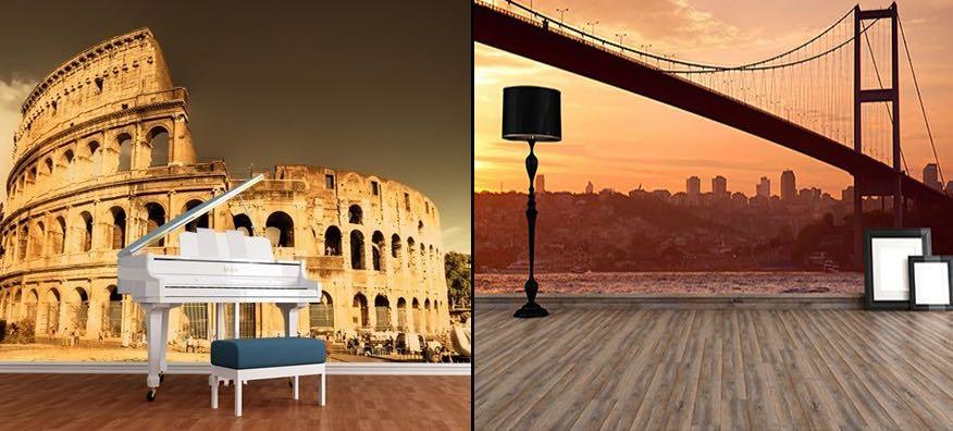 Şehir ve Tarihi Yapılar 3 Boyutlu Duvar Kağıdı Modelleri