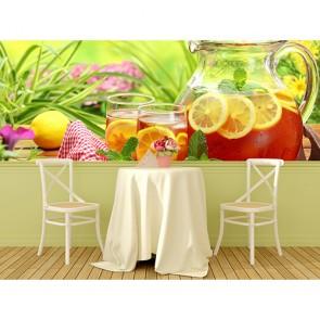Limonlu Çay Manzaralı Yapışkan Duvar Kağıdı