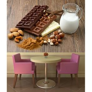 Sütlü Çikolata Resimli Dekoratif Duvar Kağıdı