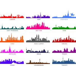 Renkli Dünya Şehirleri Silüetleri