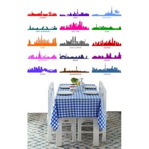Renkli Dünya Şehirleri Silüetleri - Resimli İthal Duvar Kağıtları
