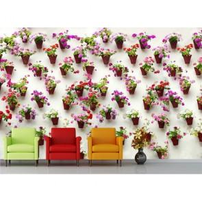 Duvarda Saksılar 3 Boyutlu Resimli Duvar Kağıdı