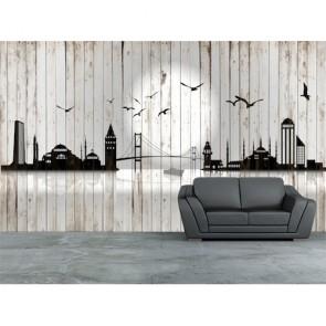 Tahta Duvarda İstanbul Silüeti 3 Boyutlu Resimli Duvar Kağıdı