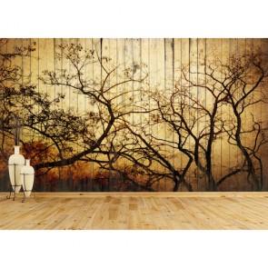 Tahta Duvarda Sanat 3 Boyutlu Resimli Duvar Kağıdı