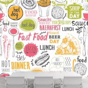 Fast Food Menüsü Kafe ve Restoran Duvar Kağıdı Modeli