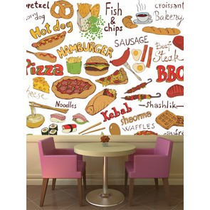 Fast Food Hamburger Kafe ve Restoran Duvar Kağıdı Modeli