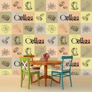 Kahve Kek Uyumu Kafe ve Restoran Duvar Kağıdı Modeli