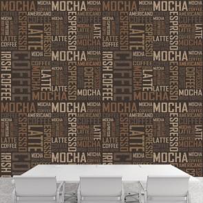 Kahve Tipografi Kafe ve Restoran Duvar Kağıdı Modeli