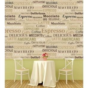 Kahve İsmi Deseni Kafe ve Restoran Duvar Kağıdı Modeli