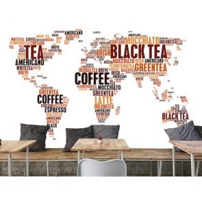 Kahve İsimlerinden Dünya - Kafe İçin 3D Duvar Kağıdı Uygulama