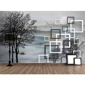 Tarz Ağaçlar - 3D Duvar Kağıdı Uygulama