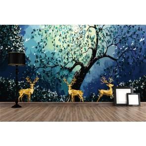 Altın Geyikler - 3D Duvar Kağıdı Uygulama