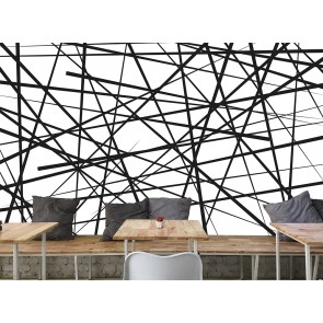 Modern Sanat - Kaotik Soyut Çizgiler - 3D Duvar Kağıdı Uygulama