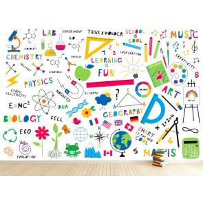 Okul Duvarı - 3D Okul ve Laboratuvar Duvar Kağıdı Uygulama