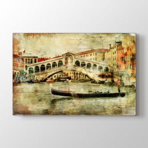 Venedik Rialto Köprüsü - Yağlı Boya Duvar Dekor Kanvas Tablo
